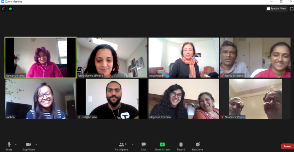 A screenshot of a Zoom meeting between SEWA-AIFW staff and the artists and their families.