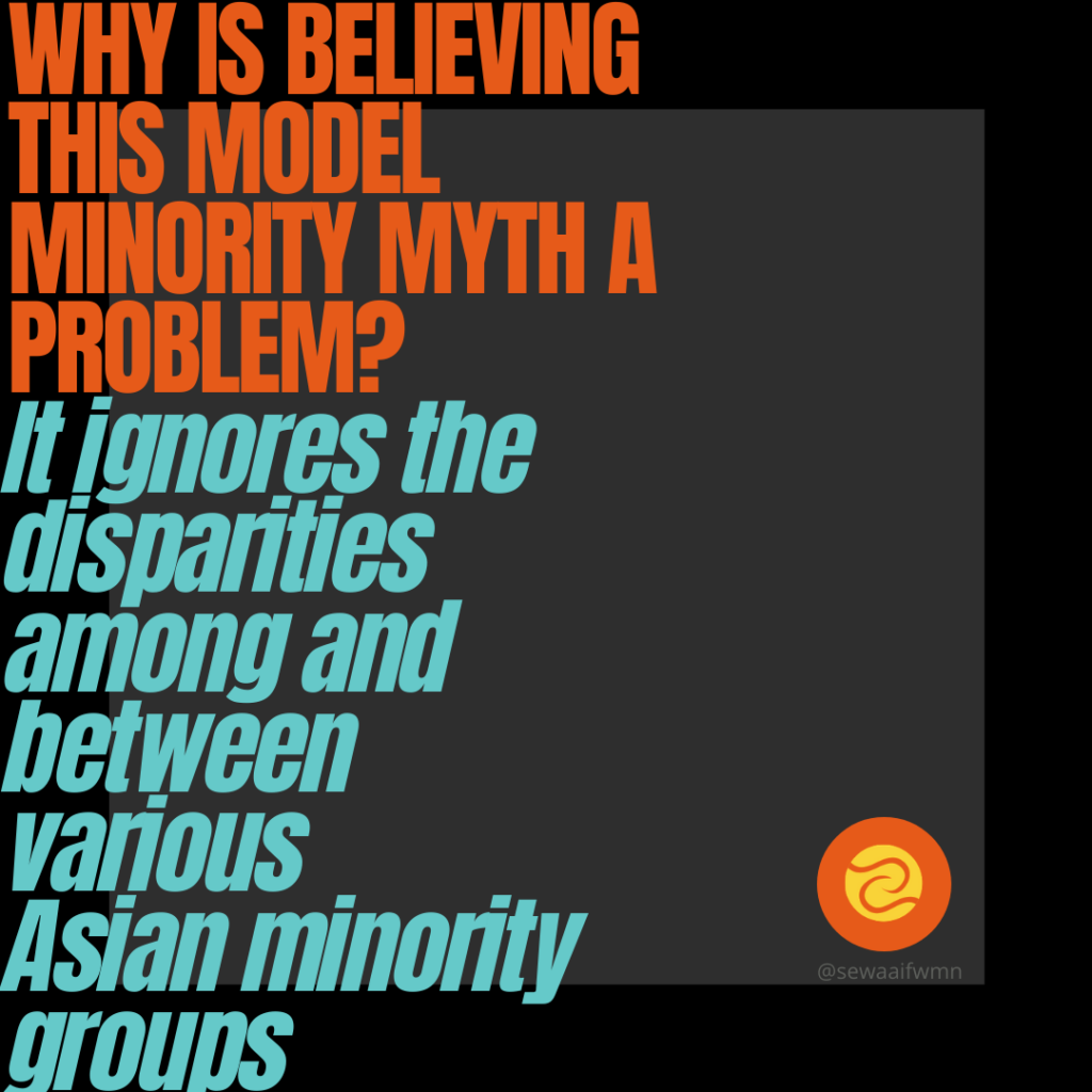 """SEWA-AIFW image with a question and answer. Question: """"Why is believing this model minority myth a problem?"""" Answer: """"It ignores the disparities among and between various Asian minority groups."""""""