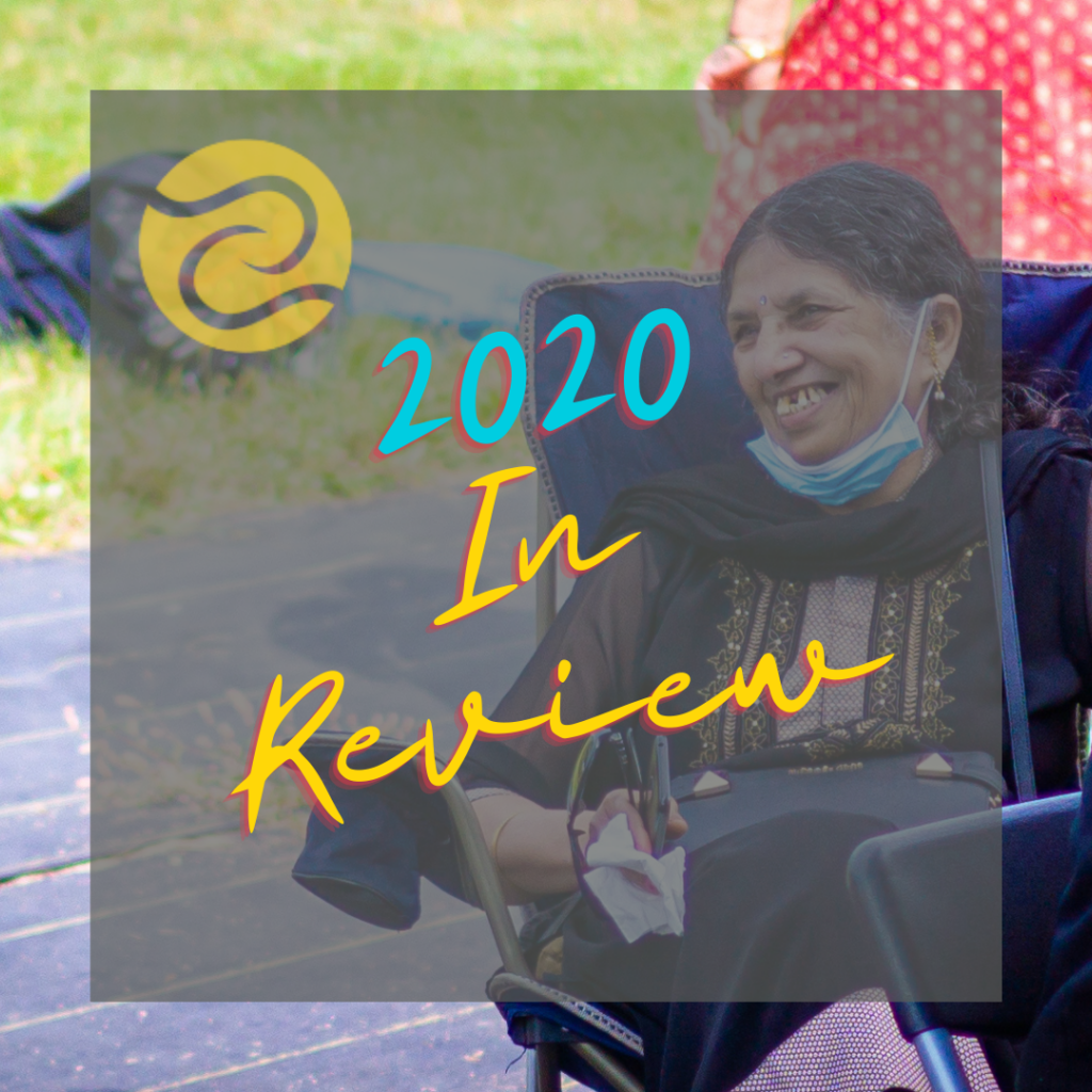 "Title image of an elderly woman smiling. The text ""2020 in Review"" and SEWA-AIFW's logo are overlaid on top."