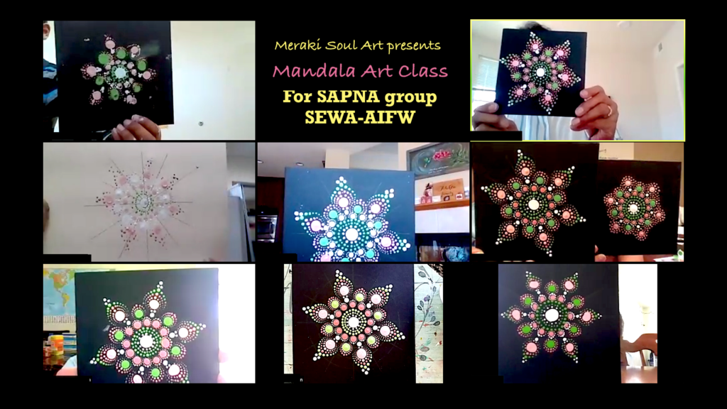 Members of SAPNA hold up their mandala art during one of our Friday meetups.