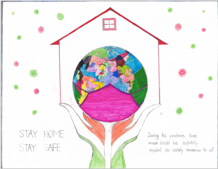 Covid-19 germs around a house with a globe wearing a mask in front of it with hand holding it. It says Stay Home Stay Safe. During the pandemic times mask should be definitely required for safety concerns to all.