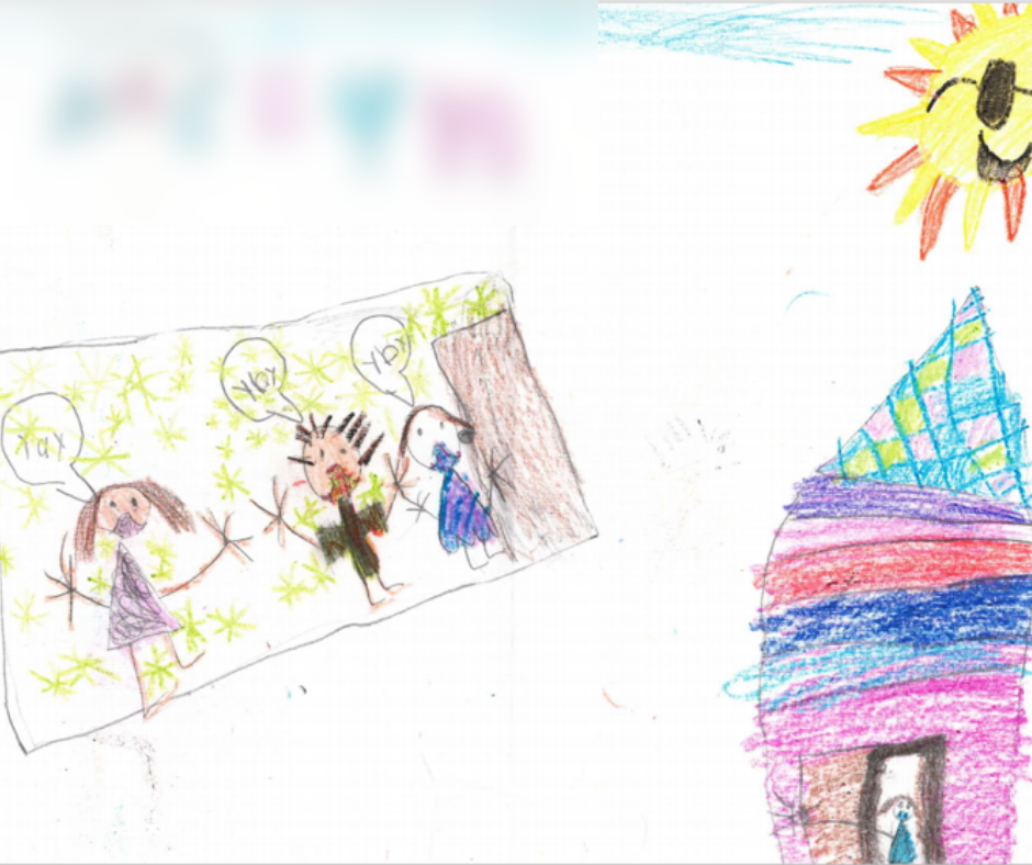 """Sun that is smiling with sunglasses in upper right corner. Three people in a square with green starts saying """"yay"""" in the middle of the page. One person in a doorway infront of a very colorful house (pink, light blue, dark blue, red, and purple with a checkered roof on the lower right corner."""