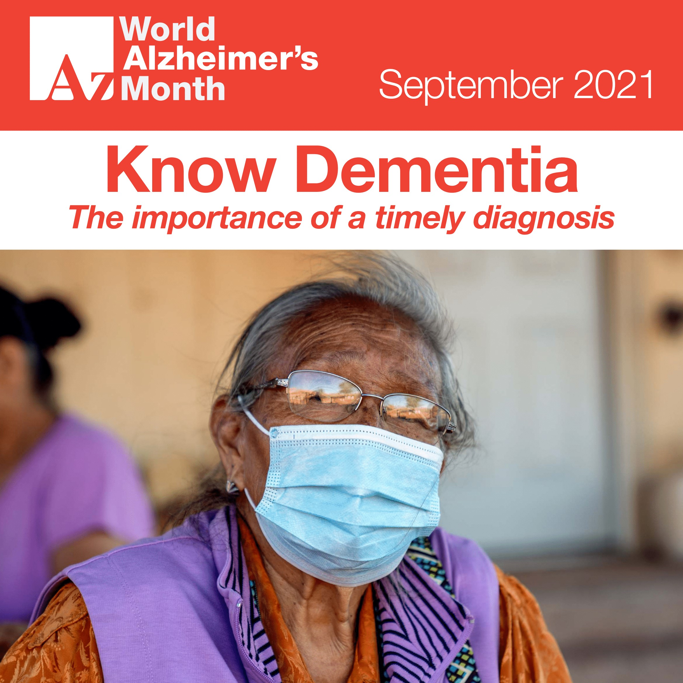 """Cover Image: A photo of an elderly South Asian woman in a mask, with the text """"Know Dementia: The importance of a timely diagnosis."""""""